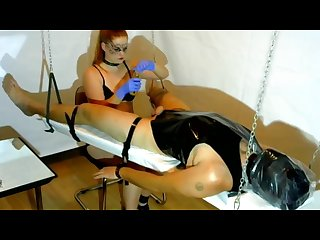Femdom Cock Tease , Cock Massage - Latex Gloves, Chain, PVC, Brush