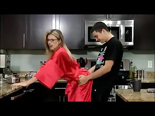 Son gives stepmom a breakfast creampie