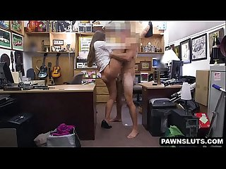 Brunette babe getting fucked at the pawn shop