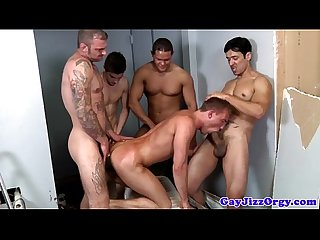 Gay hunk assfucked deeply during orgy