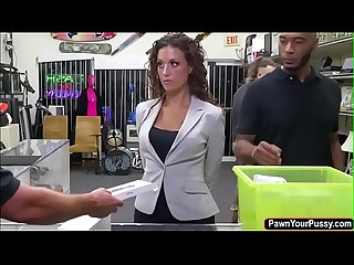 Big ass babe gets fucked for a laptop