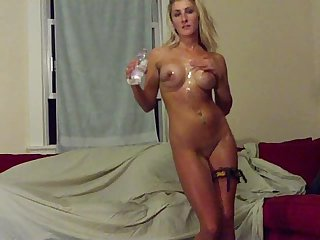 Sexy blonde gets all wet