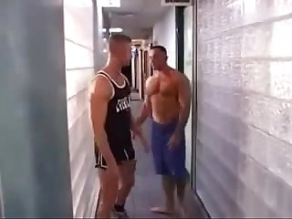 Three studs sucking in Sauna