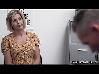 Blonde busty MILF Amber Chase was caught stealing clothes by a horny mall officer and fuck her..