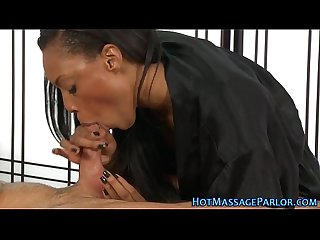 Cute ebony masseuse jizz