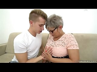 Grandma deepthroats a young big dick before riding on it