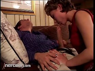 Mature broad sucks her man blowjob