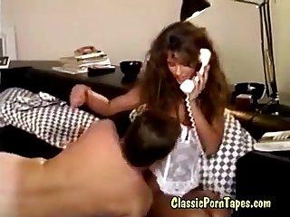 Brunette in 80s vintage porn movie