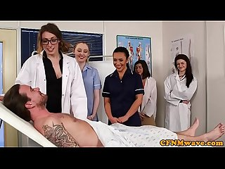 English cfnm nurses tugging and sucking sub