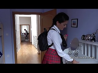 Lesbian schoolgirl banged with strap on